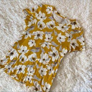 Banana Republic Yellow Floral Short Sleeve Top